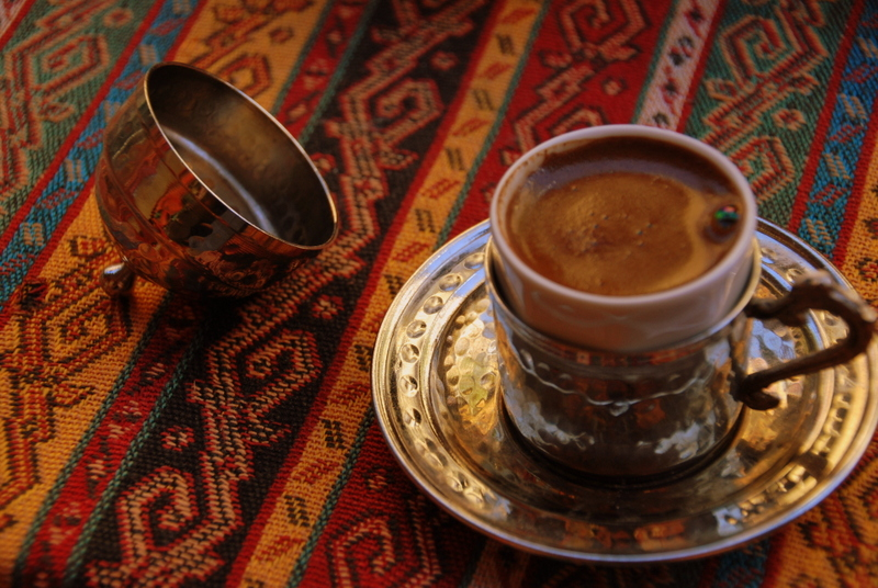 Enjoying a Turkish coffee