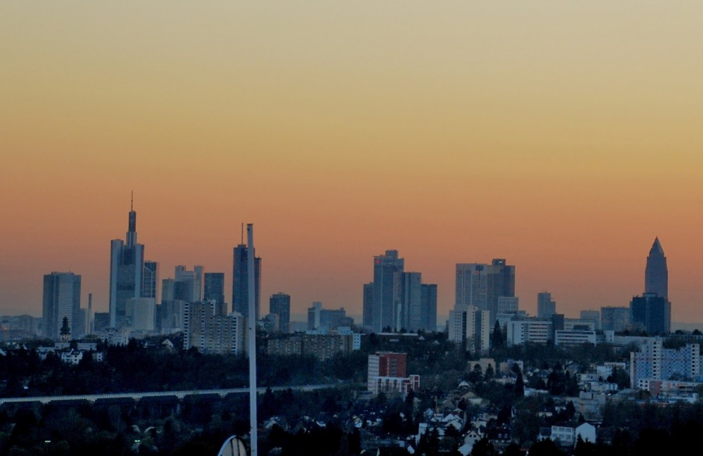 First day of spring: The skyline of Frankfurt in golden light